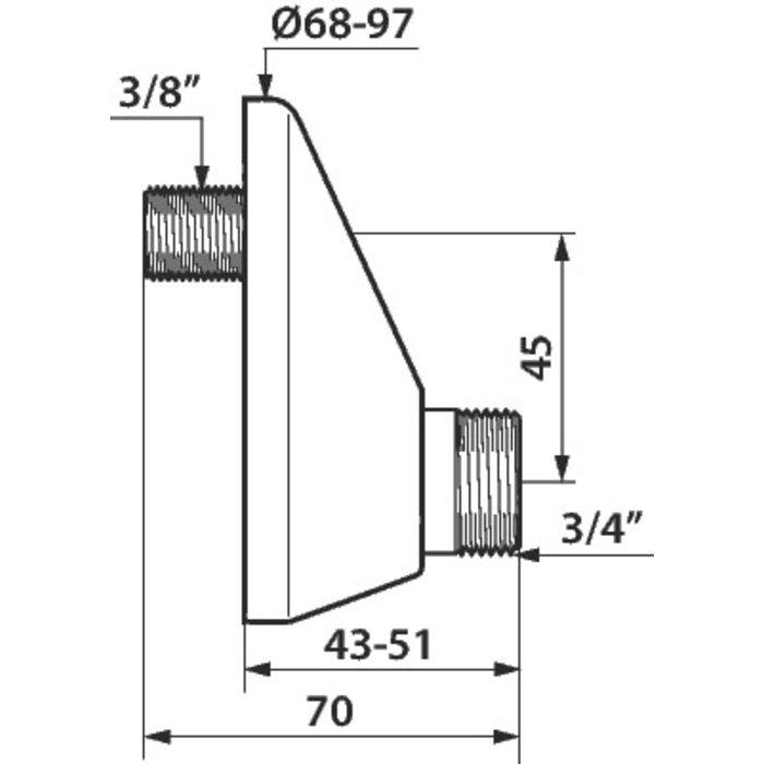 Raccord excentré - Mâle / Mâle - Excentration de 45 mm-1