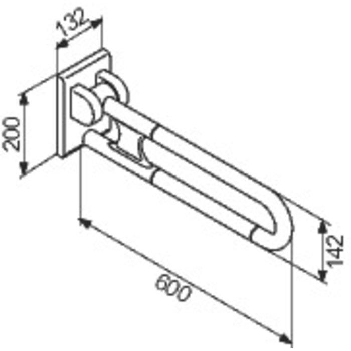 Barre d'appui relevable - Diamètre 34 mm - Nylon-1