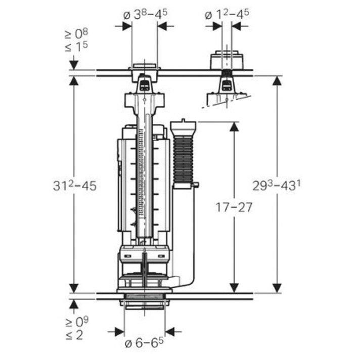 Mécanisme de WC type 290-380 DT-1