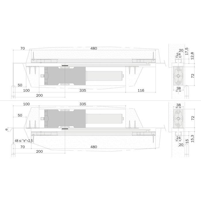 Ferme-porte PH 90 SP Phantom - Bras à coulisse - Sur platine - Argent-1