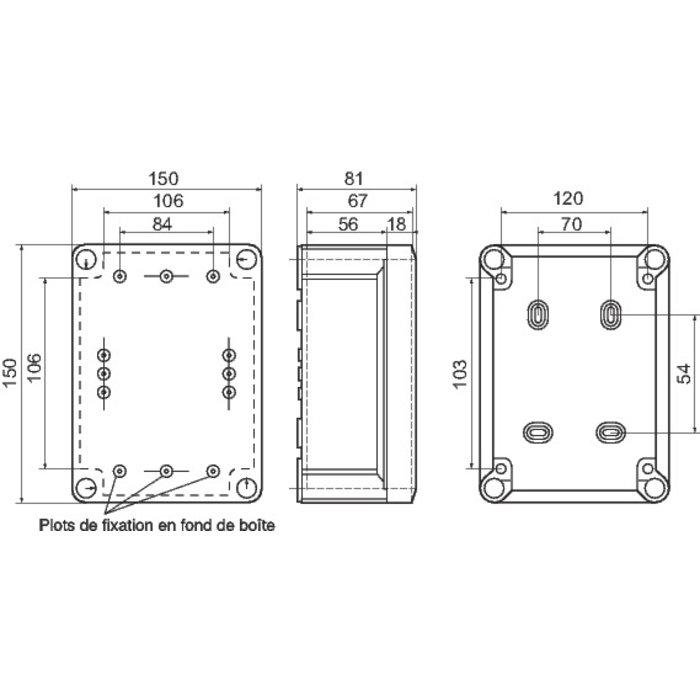 Boîte de dérivation carrée Plexo - À entrée directe - 10 embouts-1