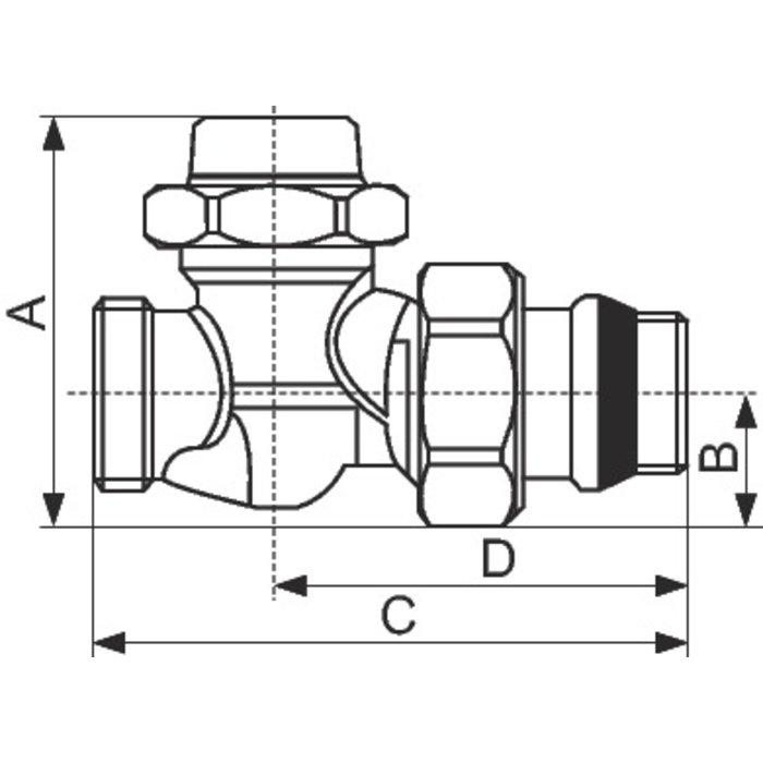 """Té de réglage pour radiateur Alésage R31 TG - Mâle - Filetage 1/2""""-1"""