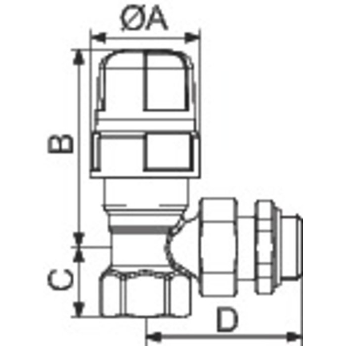 Corps de robinet thermostatique M30 - Équerre - Femelle-1