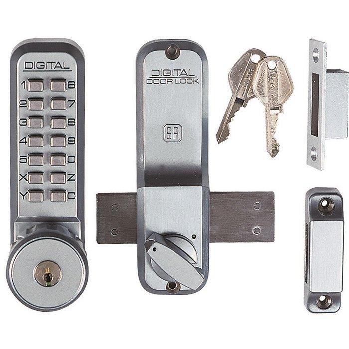 Verrou à code et clé 2200CS - En applique - Aluminium brossé