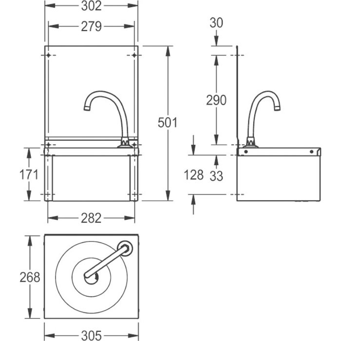 Lave-mains avec dosseret - À volet frontal - Finition satinée-1