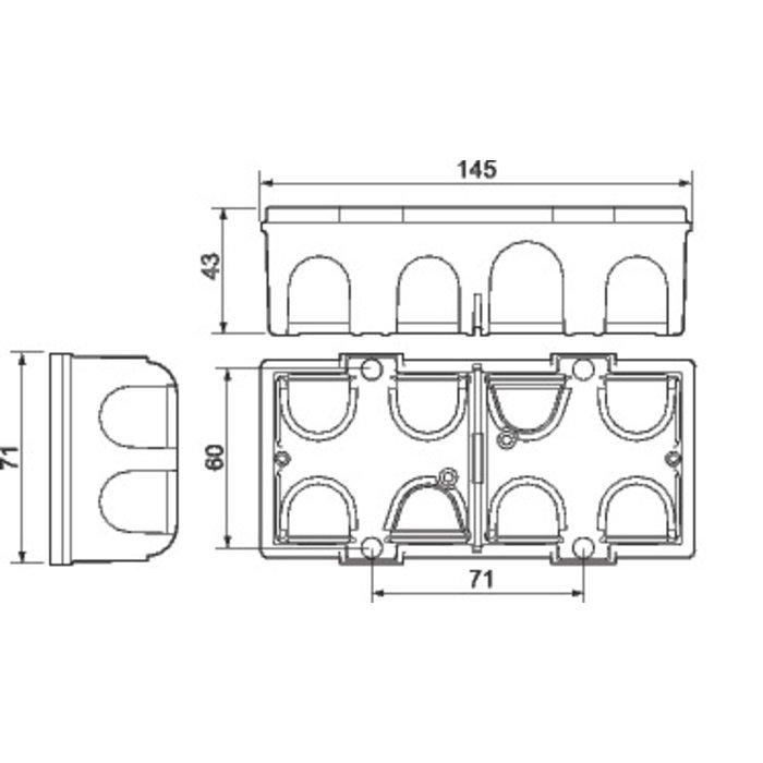Boîte d'encastrement Batibox - Maçonnerie - 2 postes - Profondeur 40 mm-1