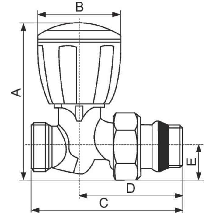 """Robinet de radiateur Alésage R432 TG - Droit - Mâle - Filetage 1/2""""-1"""