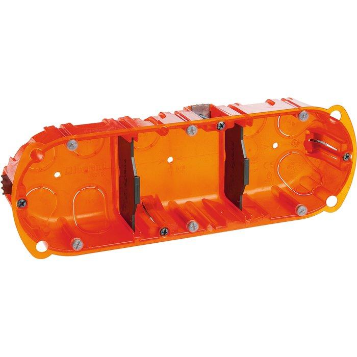 Boîte d'encastrement Batibox - Multimatériaux - 3 postes - Pronfondeur 40 mm-1
