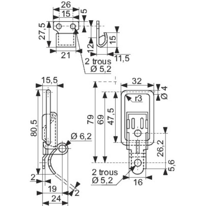 Fermeture à levier 7004 - Avec porte-cadenas-1