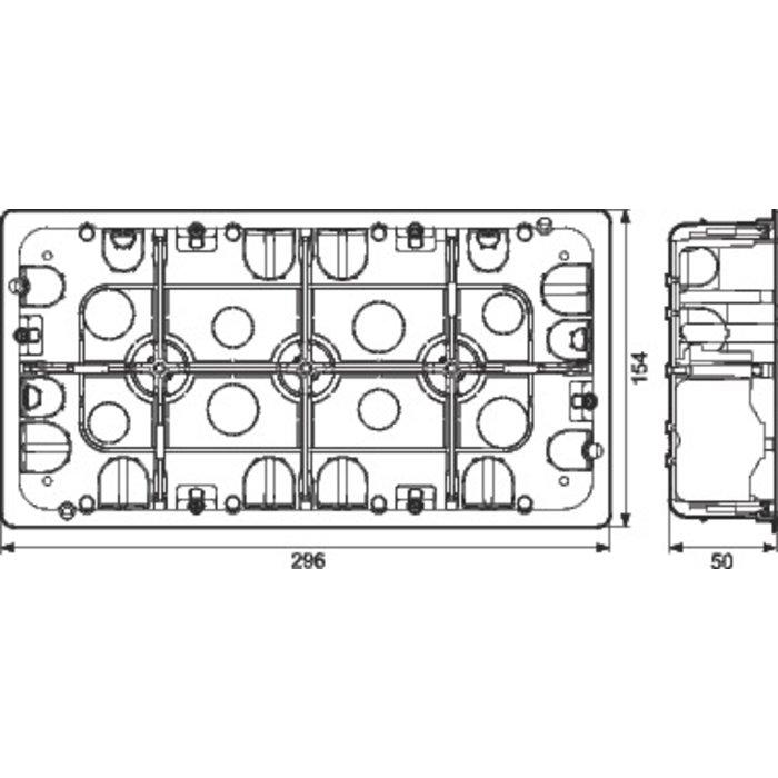 Boîte d'encastrement Batibox - Multimatériaux - 2 x 10 postes - Profondeur 50 mm-1