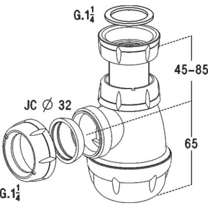 Siphon à culot de bidet-1
