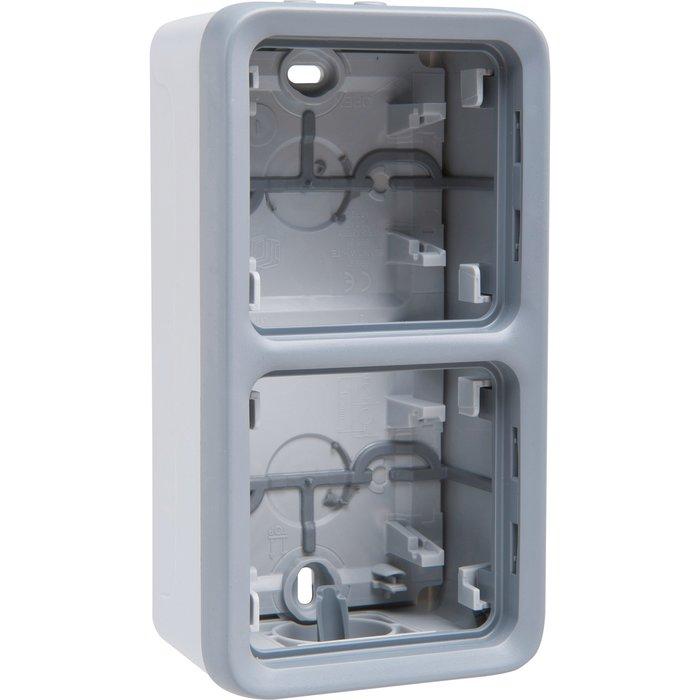 Boîtier à embout Plexo IP55 - 2 postes - Vertical - Appareillage composable