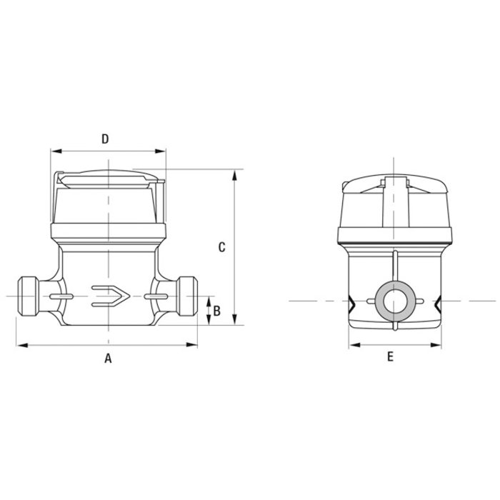Compteur d'eau divisionnaire volumétrique Aquadis+ - Eau chaude-1