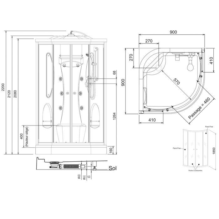 Cabine de douche Odyssée - Quart de rond - Portes coulissantes-1