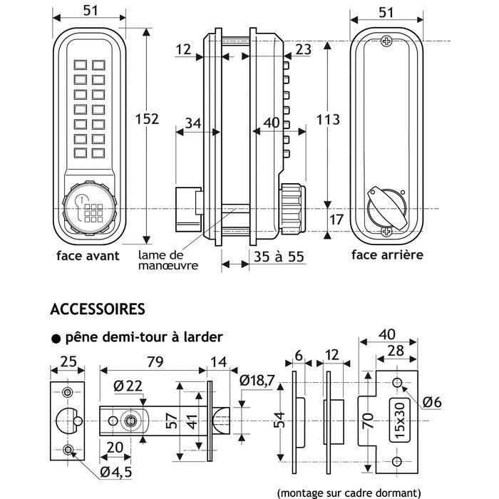 Serrure à code 2230 - À larder - Aluminium brossé-2