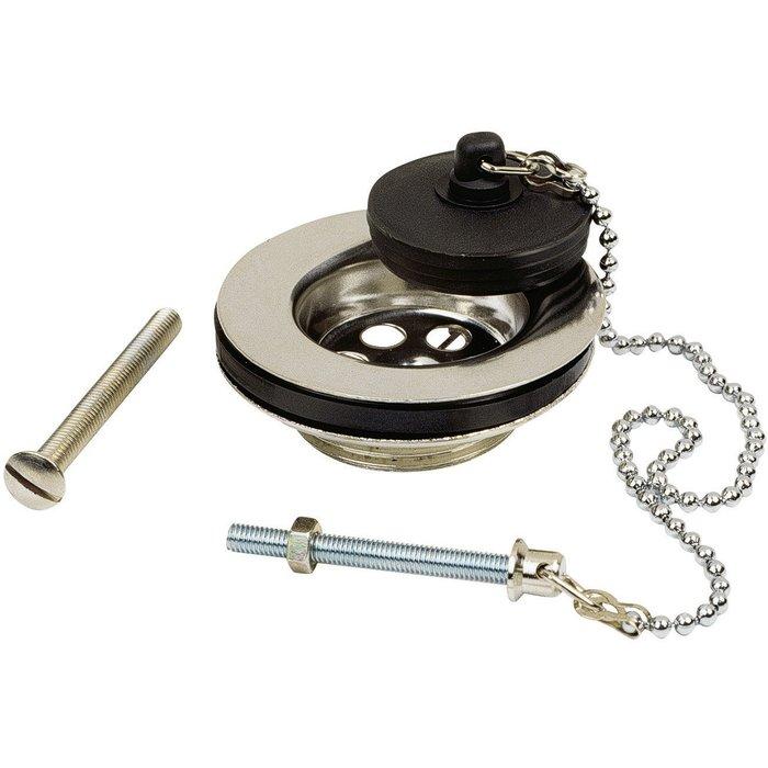Bonde à bouchon de lavabo - Laiton - Diamètre 63 mm-1