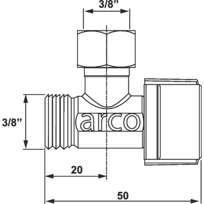 Robinet d'arrêt WC quart de tour - Équerre - Manette ABS-1