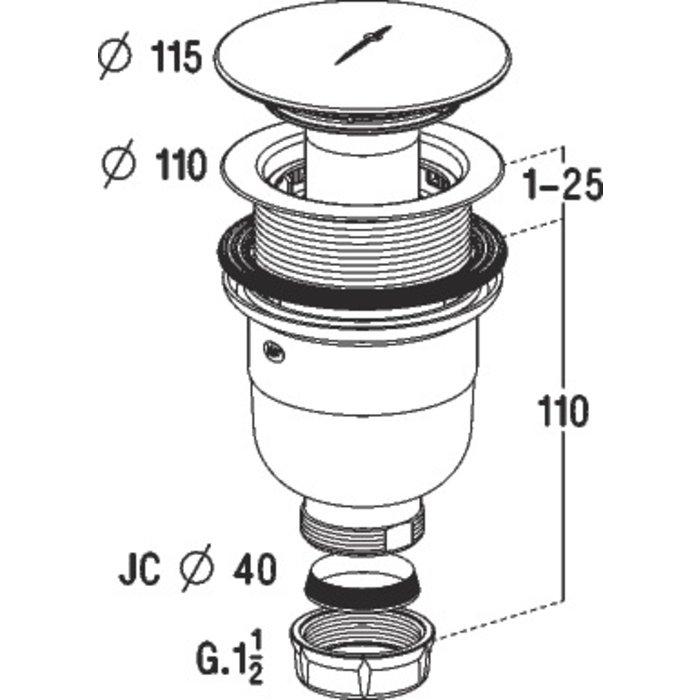 Bonde de douche verticale - Pour receveur diamètre 90 mm-1