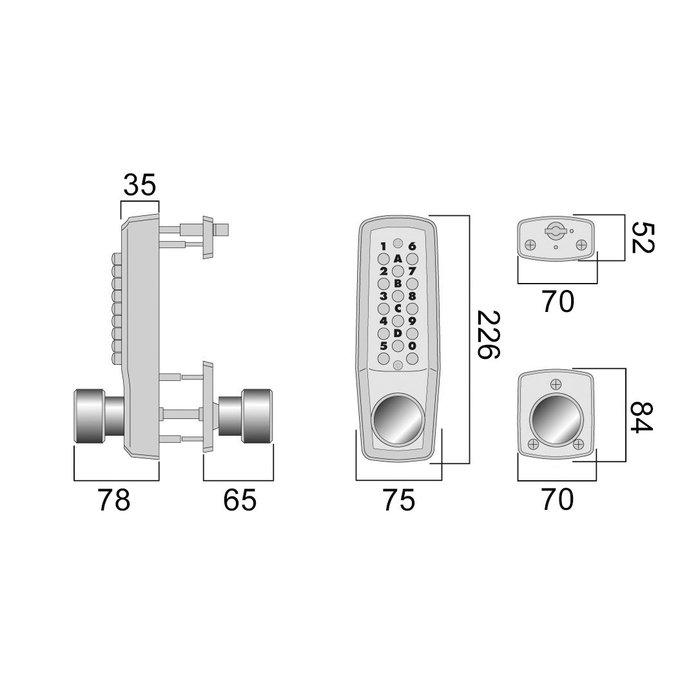 Serrure à code Keylex 2000 - Mécanique - Chromé mat-1