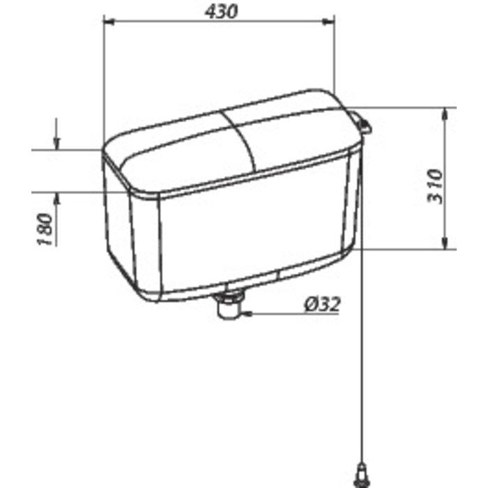 Réservoir WC Dz 500 - Haut - À chaînette-1