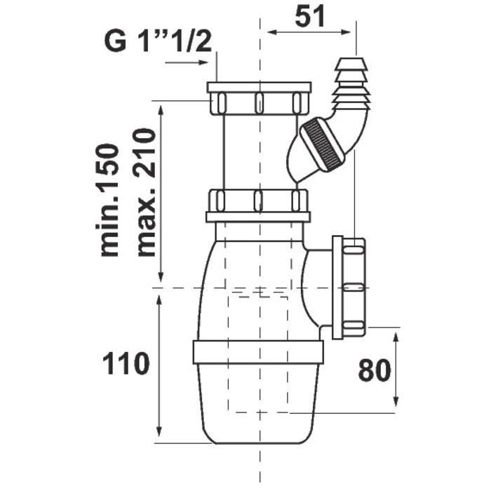 Siphon à culot et prise de machine à laver-1