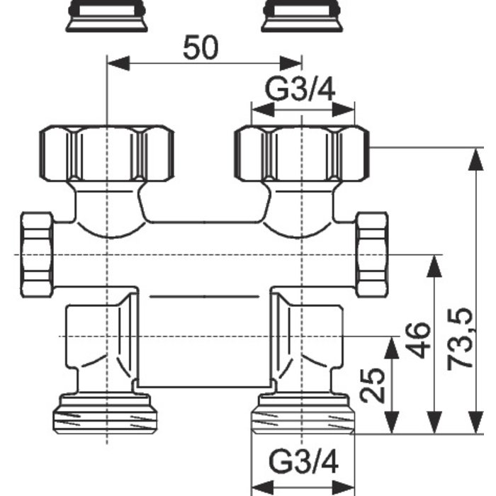 Raccord d'arrêt de radiateur ZB Multiflex - Droit - Orientable-1