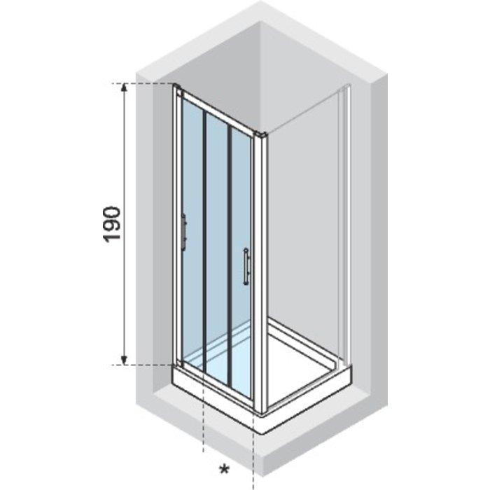 Porte de douche coulissante Lunes 2.0 P - 3 vantaux - Verre transparent-1