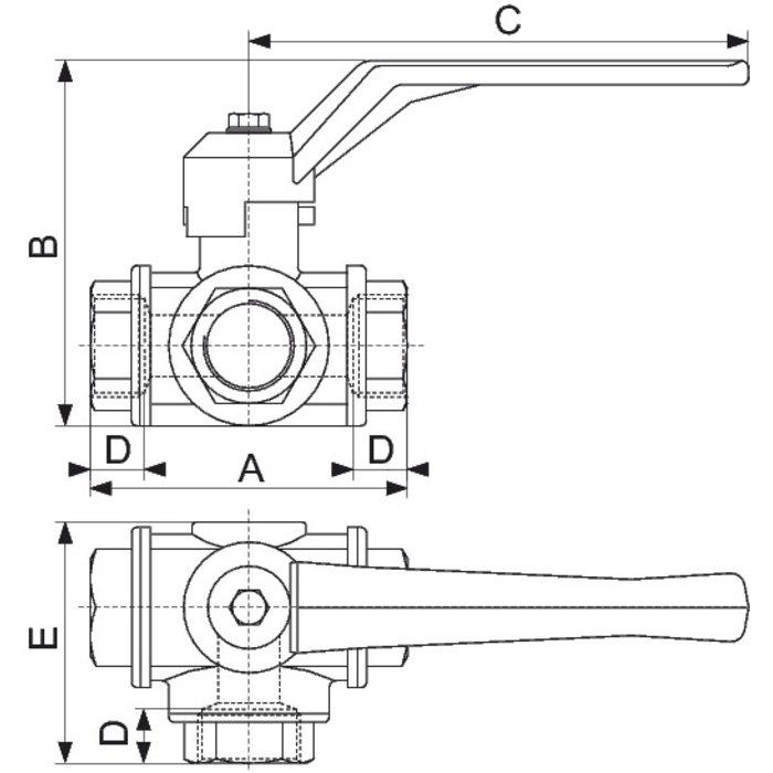 Vanne Femelle - 3 voies - PN 25-1