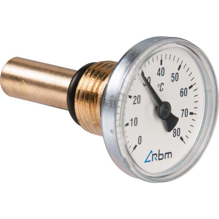 Thermomètre à cadran axial - Gradué 0 à 80°C - Diamètre 40 mm