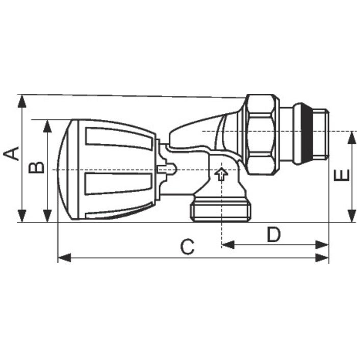 """Robinet de radiateur Alésage R435 TG - Équerre inversé - Mâle - Filetage 1/2""""-1"""