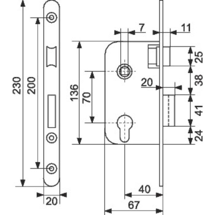 Serrure de sûreté à larder Multibat - Bouts ronds - Axe 40 mm-1