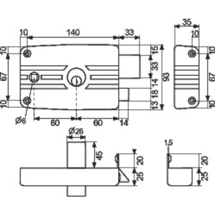 Serrure de sûreté en applique horizontale City 5G - À fouillot - Axe 60 mm-1