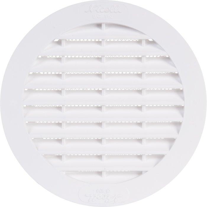 Grille d'aération ronde avec moustiquaire - Plastique - À visser / coller