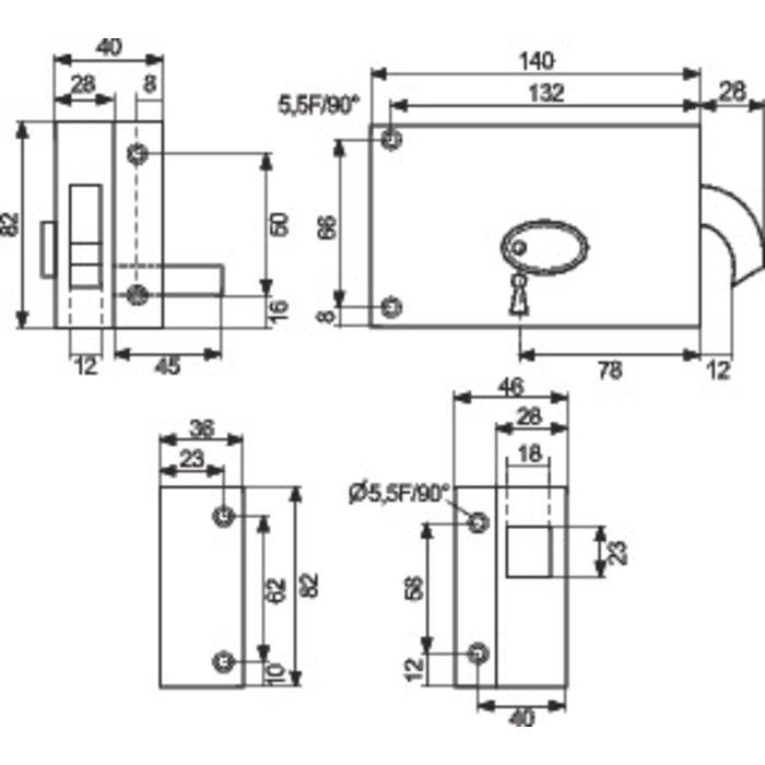 Serrure en applique 376T - À gorge - À crochet - Axe 78 mm-1