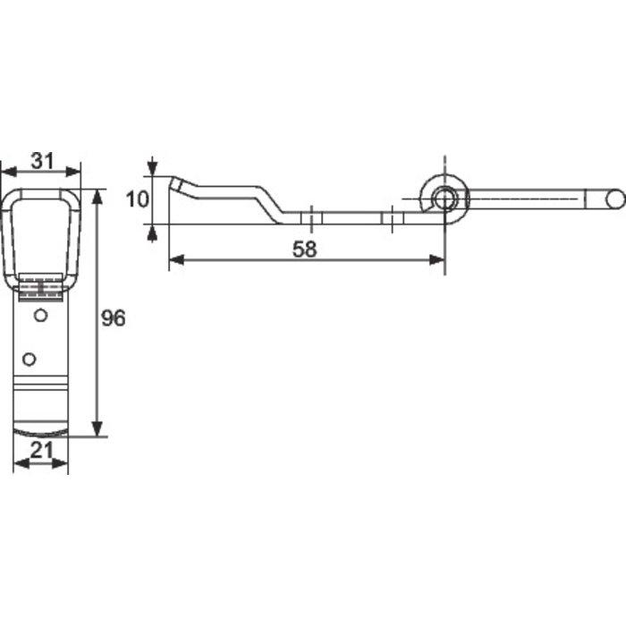Support loquet pour volet - 2 trous - Inox-1