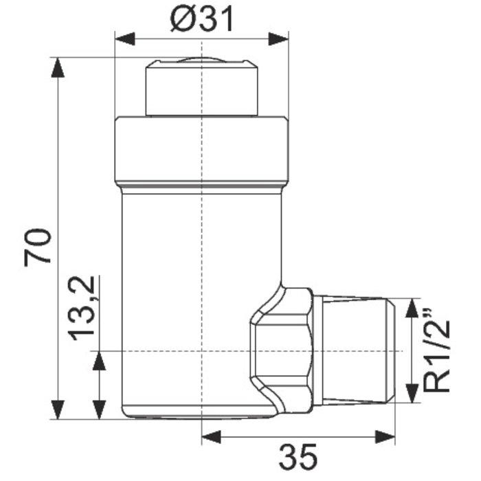"""Purgeur d'air à flotteur Flexvent H - Équerre - Mâle - Filetage 1/2""""-1"""