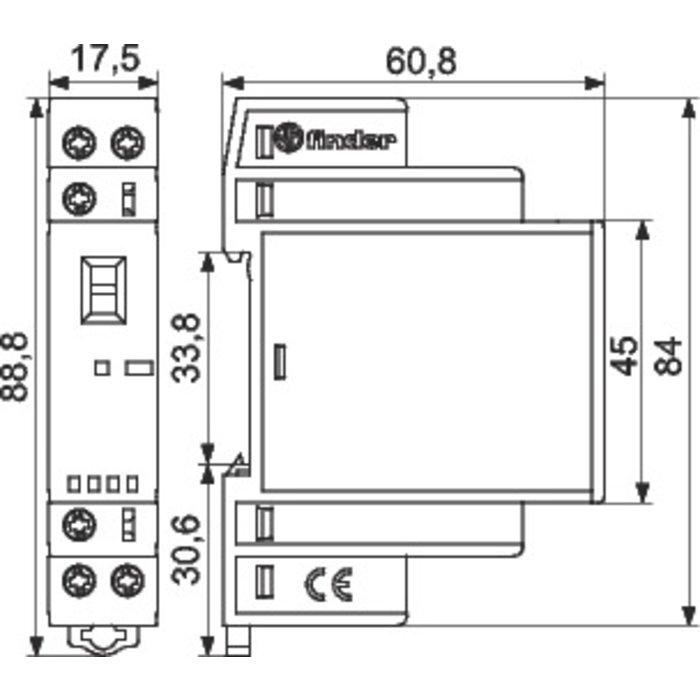Contacteur modulaire - 1 module - Tension 24 V - Intensité 25 A-1