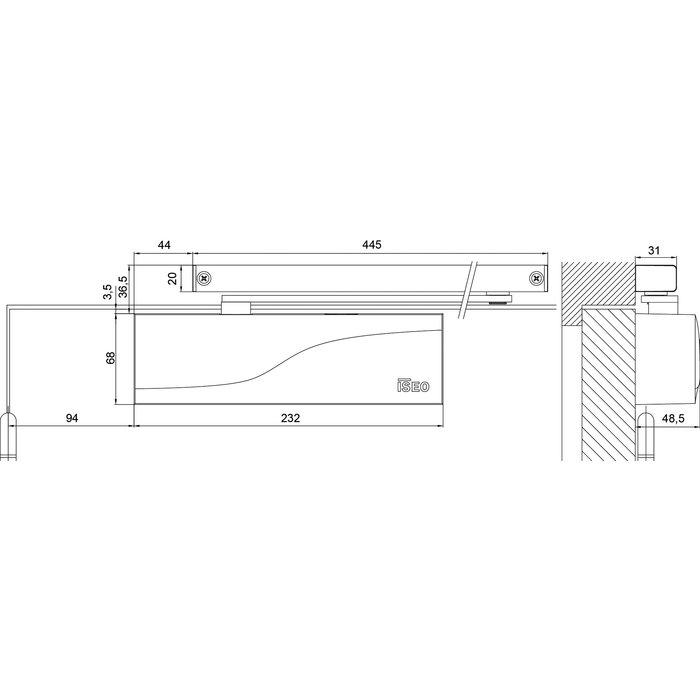 Ferme-porte IS65 - Bras à glissière - Force 3 - Argent-1