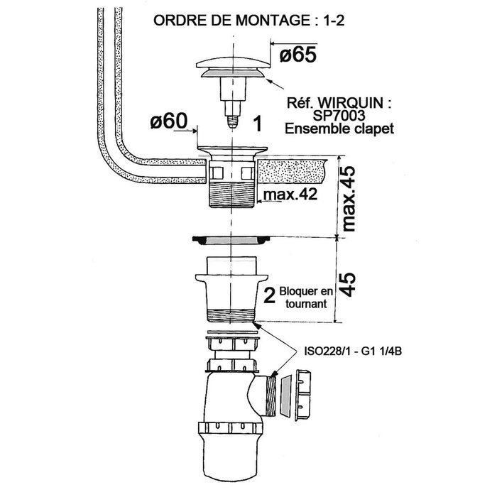 Ensemble complet bonde Quick-Clac automatique avec siphon de lavabo-1