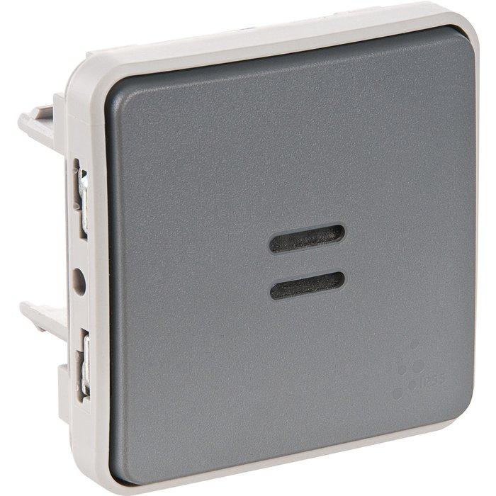 Interrupteur poussoir lumineux Plexo IP55 - Contact NO - Appareillage composable - Gris