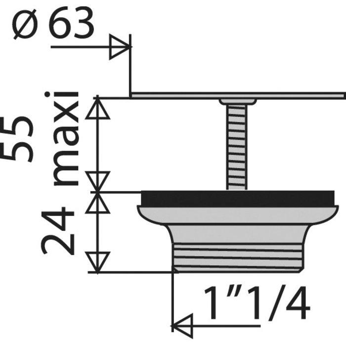Bonde à grille de lavabo - Laiton chromé - Diamètre 63 mm-1