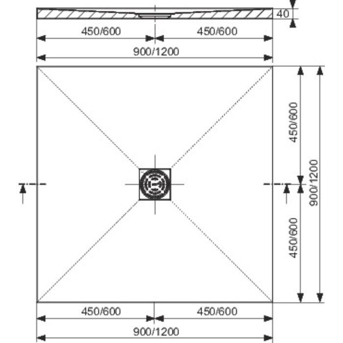 Receveur de douche carré - À écoulement centré-1