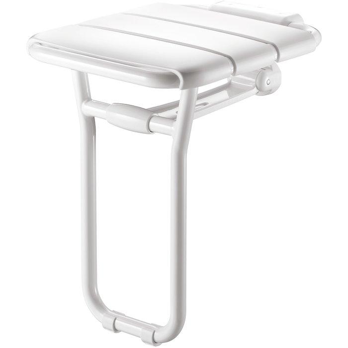 Siège de douche relevable avec pied - Plastique blanc