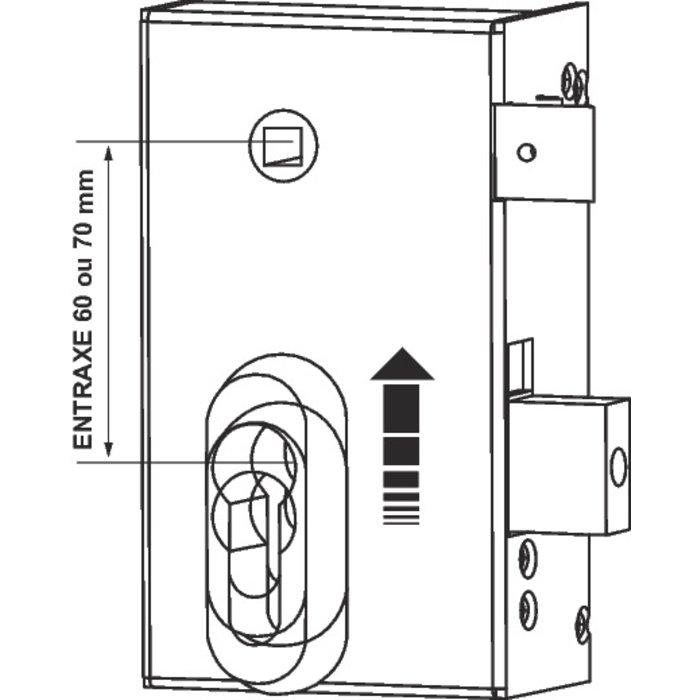 Serrure en applique à fouillot ND10 - Modulable - Axe 45 mm-1