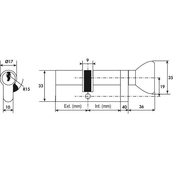 Cylindre à bouton TE5 - Laiton-1