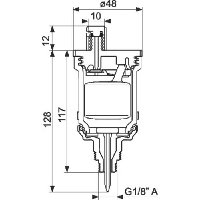"""Désaérateur de radiateur - Mâle - Filetage 1/8"""" - 3/8""""-1"""