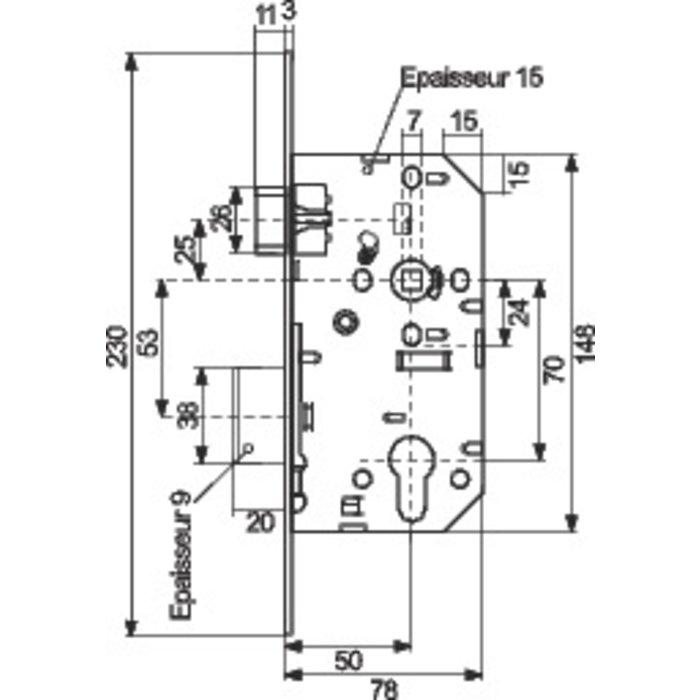 Serrure de sûreté à larder D455 - Axe 50 mm-1