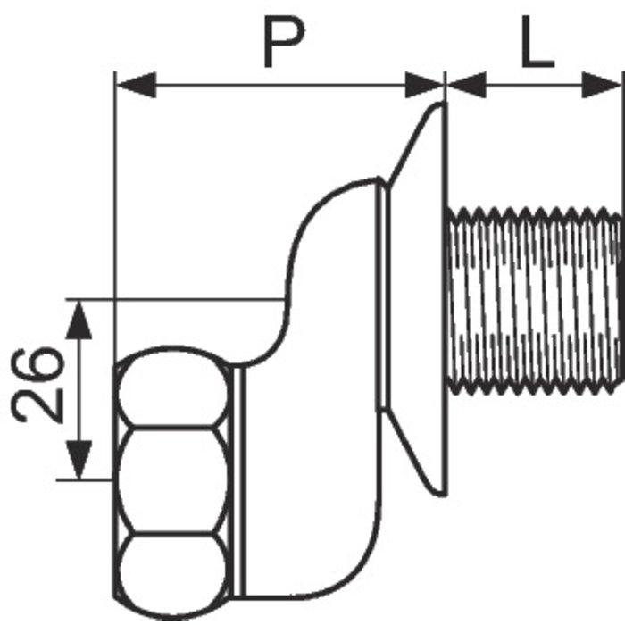 Raccord excentré - Mâle / Femelle - Excentration de 26 mm - Écrou tournant - Avec rosace-1