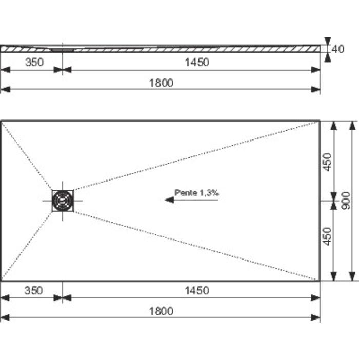 Receveur de douche rectangulaire - Excentré - Longueur 1200 mm-1