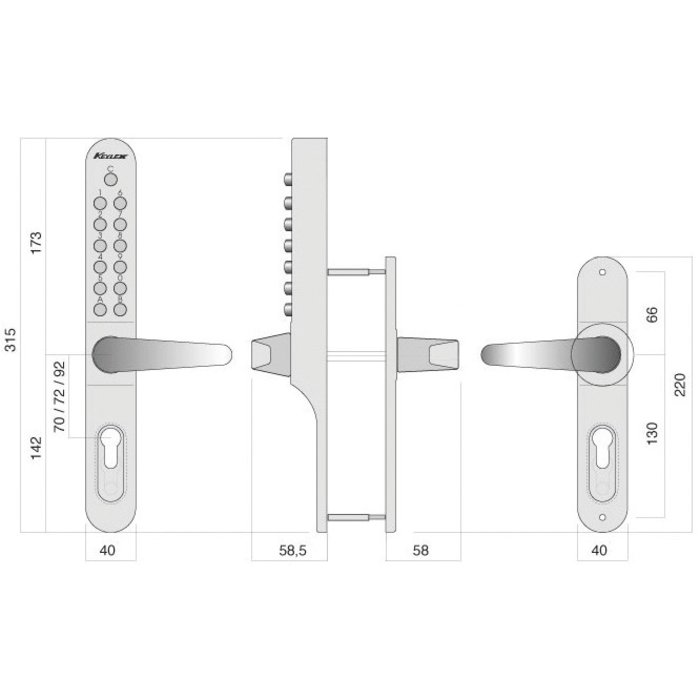 Serrure à code Keylex profil - Mécanique - Gris métal-2